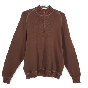 TOMMY BAHAMA 1/2 Zip Sweater Vented Knit Brown